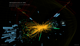 CERN visualization showing two electrons (green), one to two muons (red lines) resulting from a collision between two Z bosons. Credit: CERN