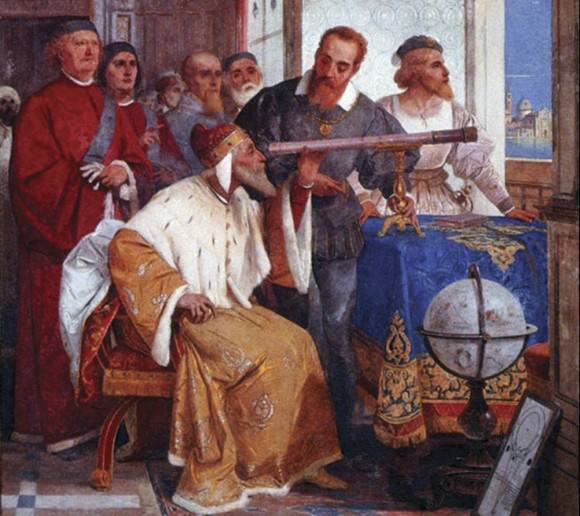Galileo Galilei showing the Doge of Venice how to use the telescope by Giuseppe Bertini (1858). Credit: gabrielevanin.it