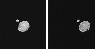 Phobos and Deimos together for the first time in high resolution.  Credits: ESA/DLR/FU Berlin (G. Neukum)