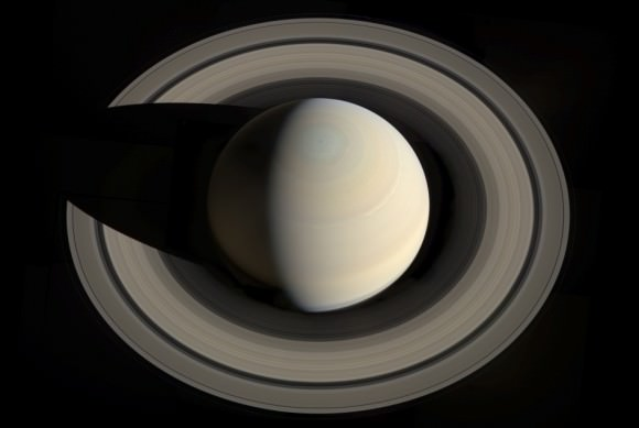 This portrait looking down on Saturn and its rings was created from images obtained by NASA's Cassini spacecraft on Oct. 10, 2013. Credit: NASA/JPL-Caltech/Space Science Institute/G. Ugarkovic