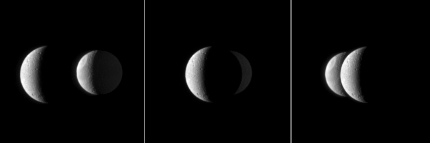Dione, in the foreground, passes in front of Tethys from the vantage point of the amazing Cassini spacecraft. Image Credit: NASA/JPL