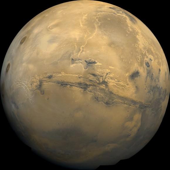 Global Mosaic of Mars Centered on Valles Marineris