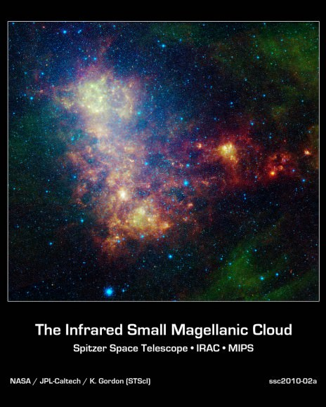 Infrared portrait of the Small Magellanic Cloud, made by NASA's Spitzer Space Telescope