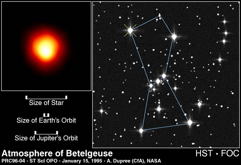 Betelgeuse, as seen by the Hubble Space Telescope. Betelgeuse is the upper left star in the constellation Orion. Credit: NASA