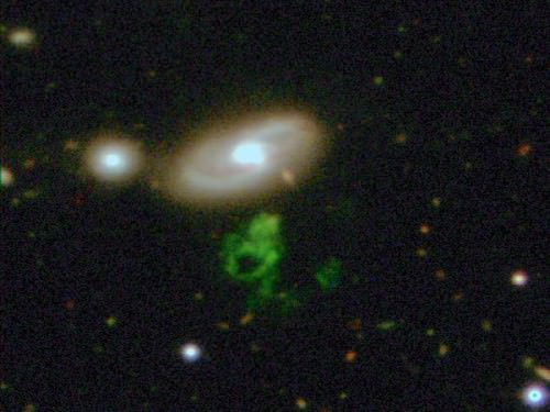 "The green ""blob"" is Hanny's Voorwerp. Credit: Dan Herbert, Peter Smith, Matt Jarvis, Galaxy Zoo Team, Isaac Newton Telescope"
