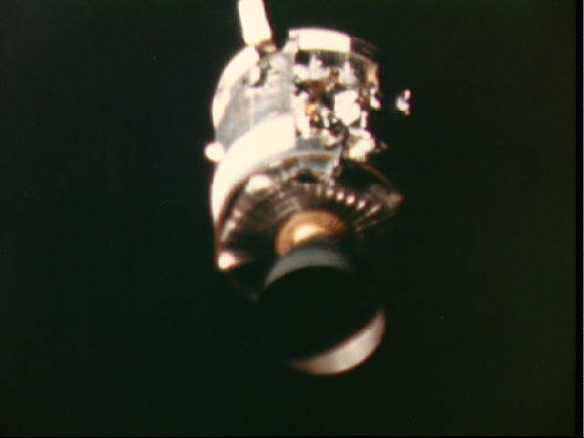 This view of the damaged Apollo 13 Service Module (SM) was photographed by a  maurer 16mm motion picture camera from the Lunar Module/Command Module  following SM jettisoning. Credit: NASA