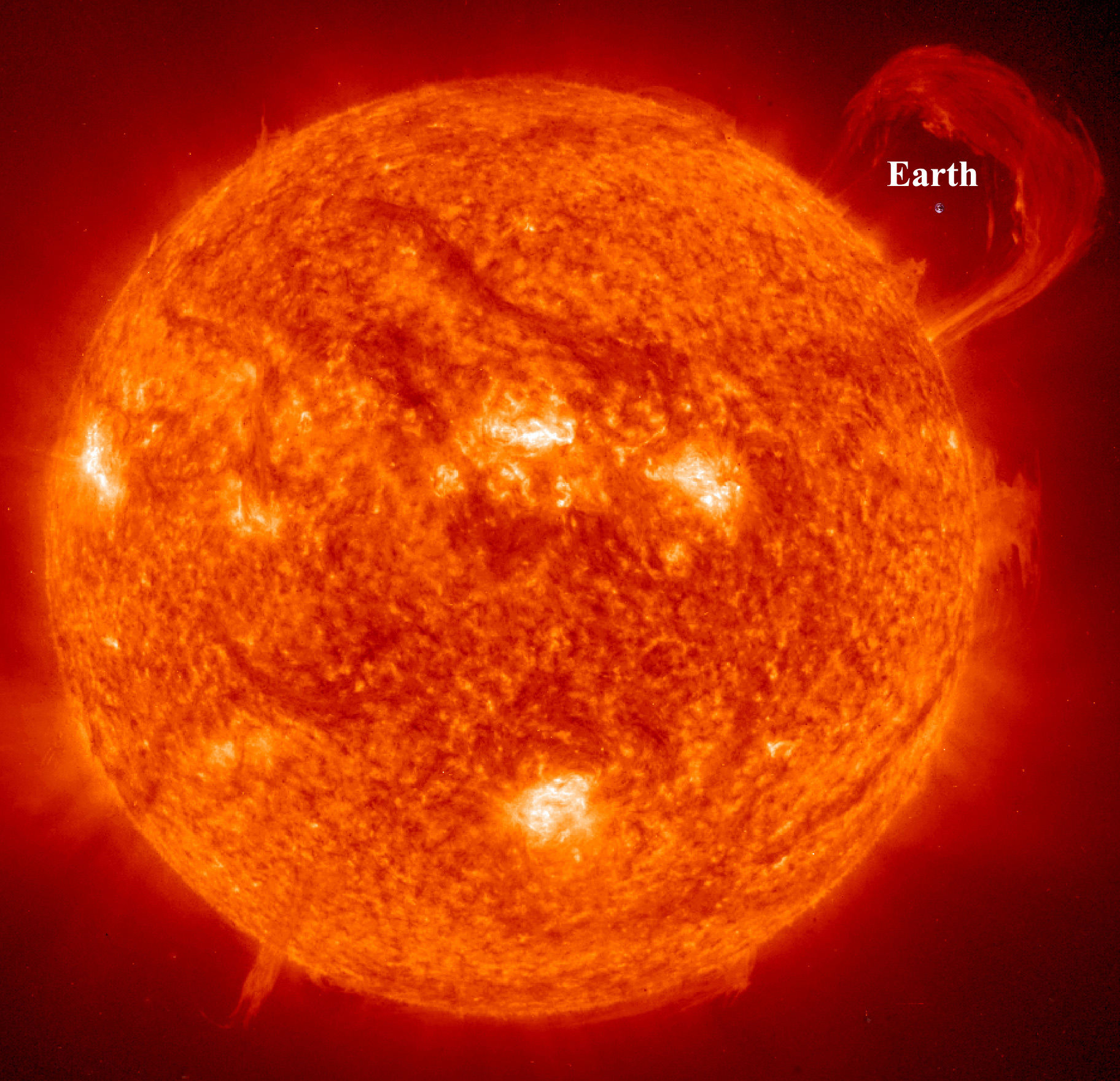 Earth Compared to the Sun. Image credit: NASA