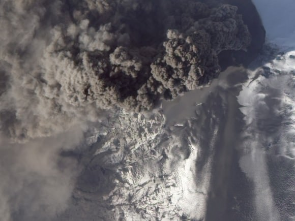 Detailed View of Ash Plume at Eyjafjallajökull Volcano