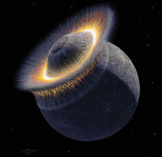 "The collision between ""Proto-Earth"" and Theia, from which the Earth and Moon were created 4,500-4,400 million years ago. Both planets had a massive iron core when they collided and created the Moon and Earth."
