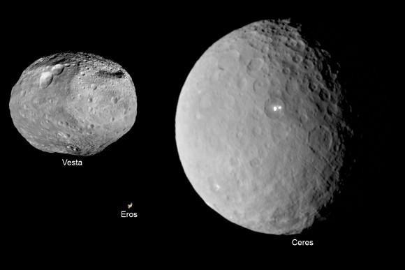 Size comparison of Vesta, Eros and Ceres and Eros