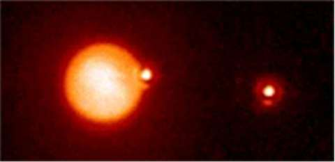 Titan passing in front of the binary star system named NV0435215+200905. Credit: Palomar Observator