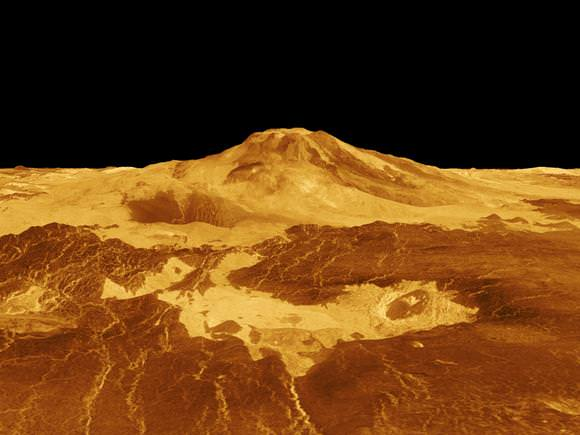 3-D perspective of the Venusian volcano, Maat Mons generated from radar data from NASA's Magellan mission.