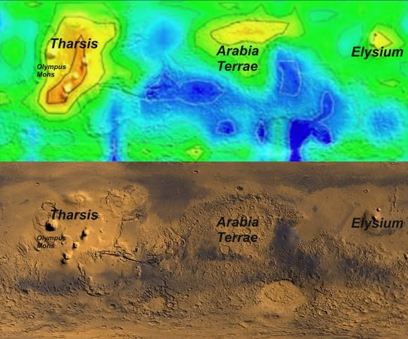 Top: Map of methane concentrations in Autumn (first martian year observed). Peak emissions fall over Tharsis (home to the Solar System's largest volcano, Olympus Mons), the Arabia Terrae plains and the Elysium region, also the site of volcanos. Bottom: True colour map of Mars. Credit: NASA/Università del Salento