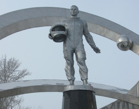 The statue of Yuri Gagarin, the first human to fly in space, looms over the town square in Karaganda, Kazakhstan March 9 as officials prepared to commemorate him on his 80th birthday. Credit: NASA