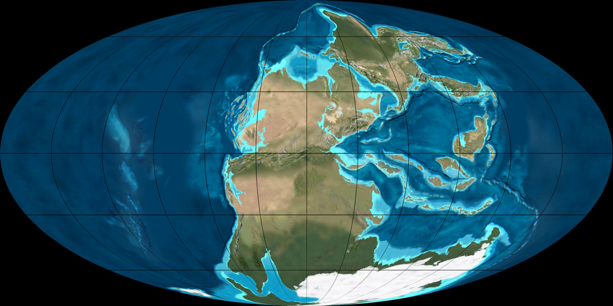 The super-continent Pangea during the Permian period (300 - 250 million years ago). Credit: NAU Geology/Ron Blakey