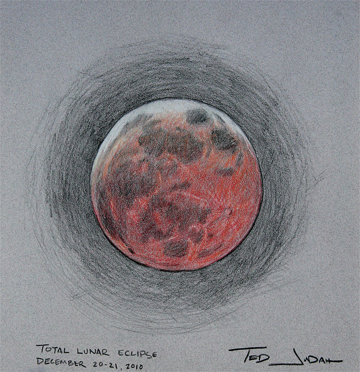A sketch of the Dec. 21st lunar eclipse by Ted Judah.