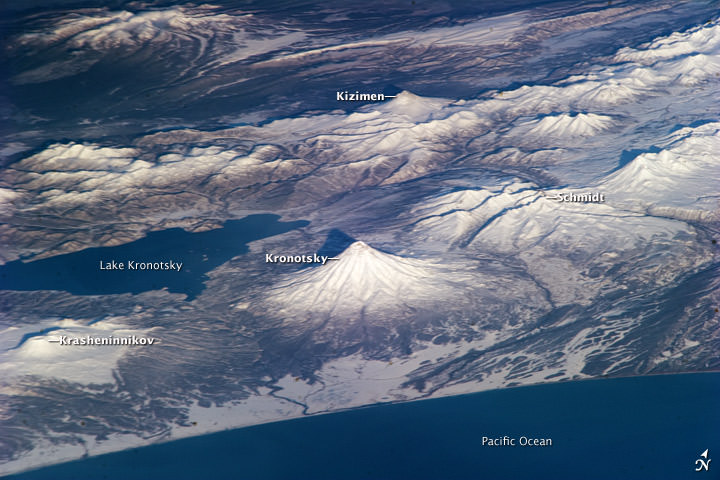 Several volcanoes in Russia, as seen by astronauts on the ISS. Credit: NASA