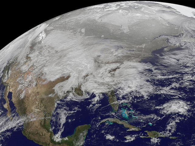 The GOES-13 satellite captured this image on Jan. 31, 2011 of a major winter storm covering a large portion of the US. Image Credit: NOAA/NASA GOES Project