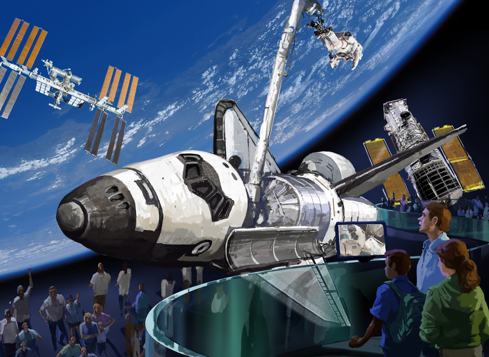 Shuttle orbiter would be displayed like In Flight at  Kennedy Space Center Visitor Complex. Credit: KSC Visitor Complex