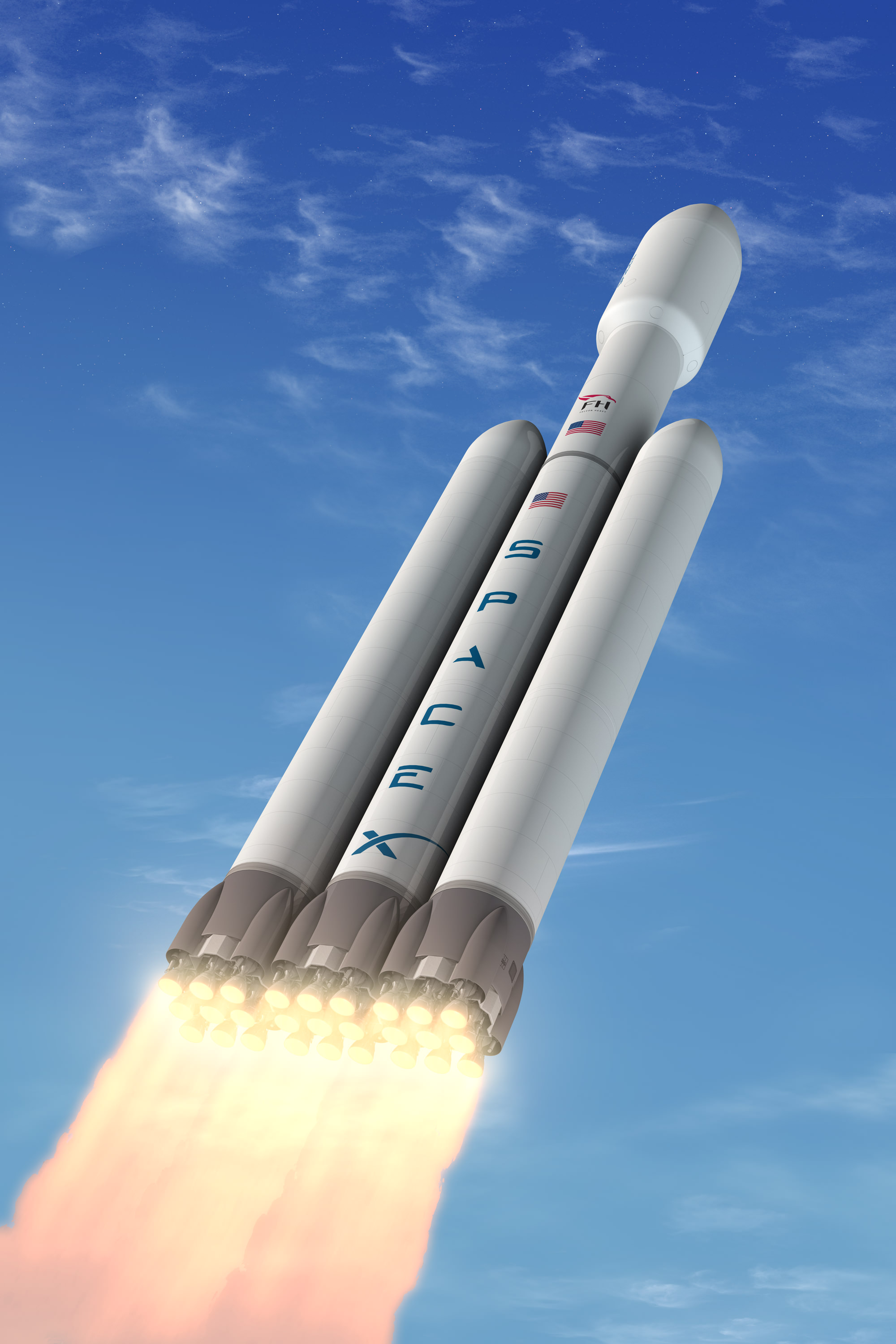 The Falcon Heavy Rocket will be the most capable rocket in the world.  only exceeded by the American Saturn V moon rocket which landed the first astronauts on the lunar surface in 1969.  Credit: SpaceX