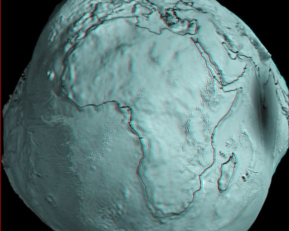 GOCE view of Africa.. Credits: ESA/HPF/DLR, anaglyph by Nathanial Burton-Bradford.