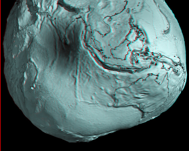Australia and Asia region of Earth's geoid.  Credits: ESA/HPF/DLR, anaglyph by Nathanial Burton-Bradford.