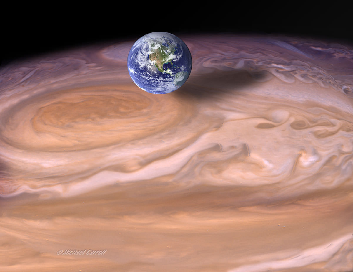 Earth next to Jupiter's red spot