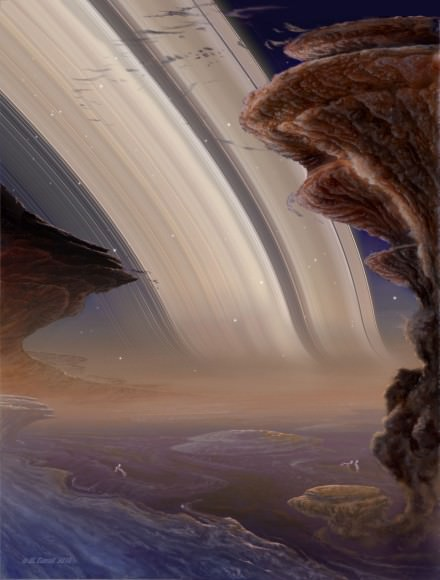 Clouds tower into a twilight sky on Saturn. The planet's glowing rings seem to bend at the horizon because of the dense air. (painting ©Michael Carroll)