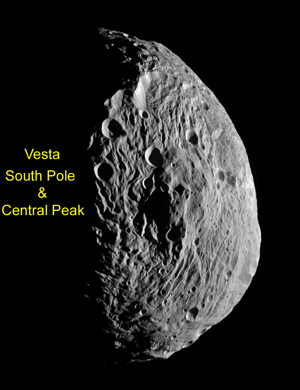South Polar Region of Vesta - Enhanced View. NASA's Dawn spacecraft obtained this image centered on the south pole of Vesta with its framing camera on July 18, 2011. The image has been enhanced to bring out more surface details. It was taken from a distance of about 6,500 miles (10,500 kilometers) away from the protoplanet Vesta. The smallest detail visible is about 1.2 miles (2.0 km).  Credit: NASA/JPL-Caltech/UCLA/MPS/DLR/IDA. Enhanced and annotated by Ken Kremer