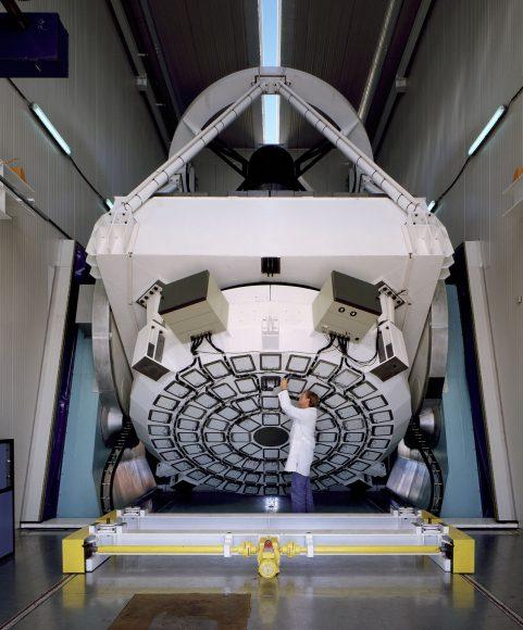 The New Technology Telescope (NTT) pioneered the Active Optics. Credit: ESO/C.Madsen. Bacon
