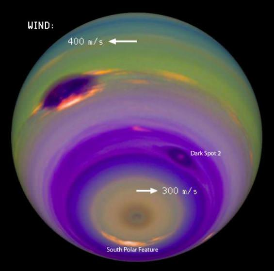 In this image, the colors and contrasts were modified to emphasize the planet's atmospheric features. The winds in Neptune's atmosphere can reach the speed of sound or more. Neptune's Great Dark Spot stands out as the most prominent feature on the left. Several features, including the fainter Dark Spot 2 and the South Polar Feature, are locked to the planet's rotation, which allowed Karkoschka to precisely determine how long a day lasts on Neptune. (Image: Erich Karkoschka)