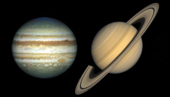 "Shortly after forming, Jupiter was slowly pulled toward the sun.  Saturn was also pulled in and eventually,  their fates became linked.  When Jupiter was about where Mars is now, the pair turned and moved away from the sun. Scientists have referred to this as the ""Grand Tack,"" a reference to the sailing maneuver. Credit: NASA/GSFC"
