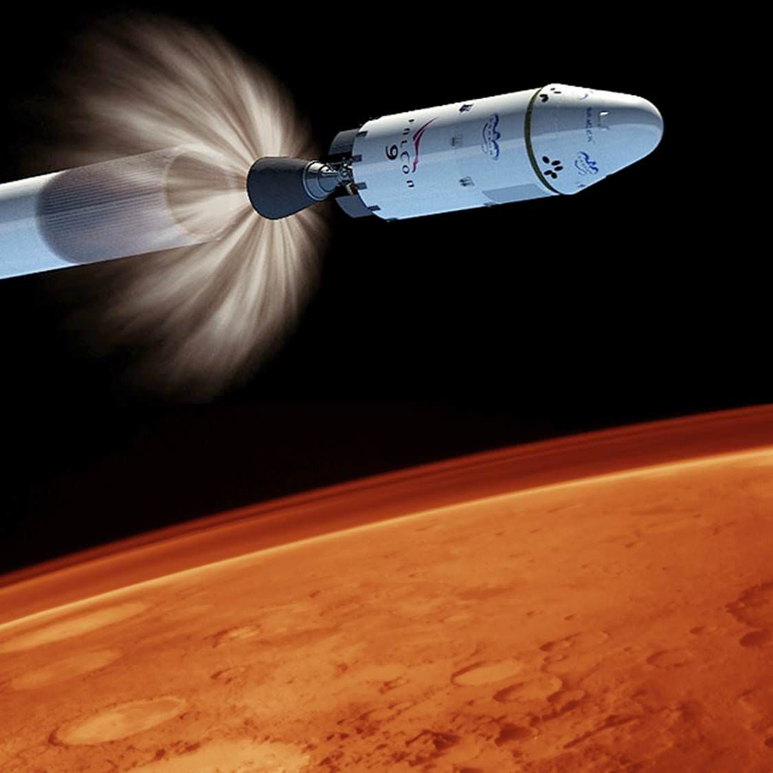 Could an image similar to this be in our near future? If Elon Musk has his way - the answer is yes. Falcon 9 Image Courtesy of SpaceX - Mars Image Courtesy of NASA