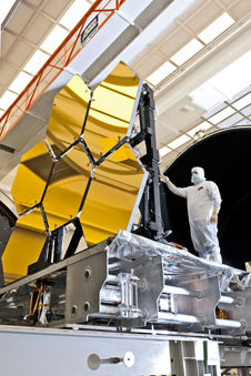 JWST's mirror segments are prepped for testing at NASA's Marshall Space Flight Center. NASA/Chris Gunn.