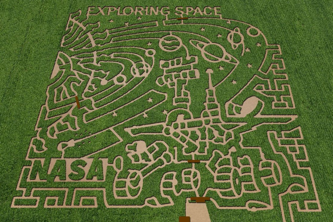 An amazing corn maze with a NASA theme,  at Cornbelly's in Lehi, Utah, one of seven around the US in 2011. Image courtesty of The MAiZE Inc.