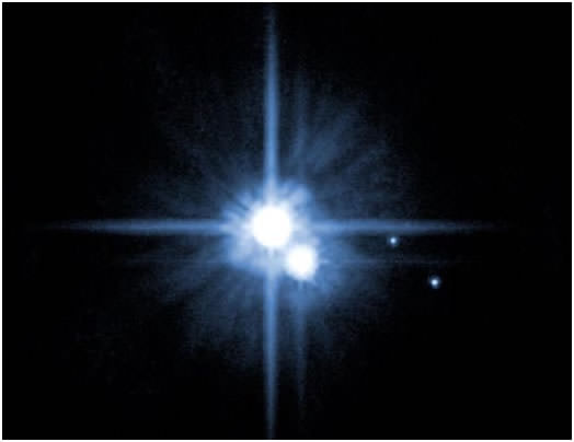 Hubble image of Pluto and some of its moons, Charon, Nix and Hydra. Image Credit: NASA, ESA, H. Weaver (JHU/APL), A. Stern (SwRI), and the HST Pluto Companion Search Team