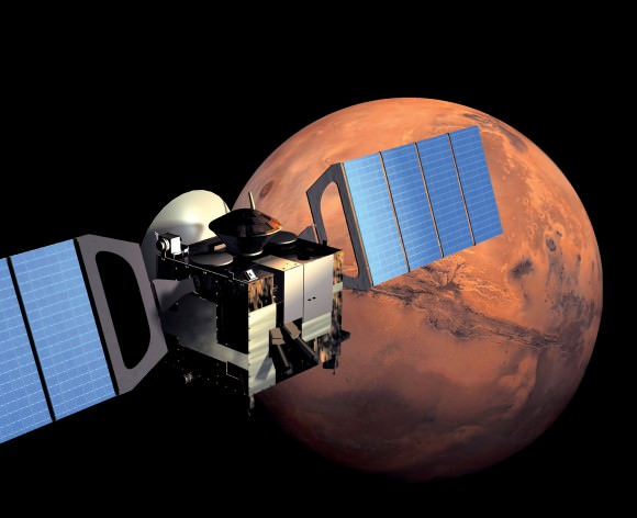 Artist's impression of the Mars Express spacecraft in orbit. Image Credit: ESA/Medialab