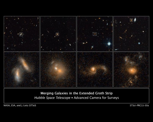 Galactic Wrecks Far from Earth: These images from NASA's Hubble Space Telescope's ACS in 2004 and 2005 show four examples of interacting galaxies far away from Earth. The galaxies, beginning at far left, are shown at various stages of the merger process. The top row displays merging galaxies found in different regions of a large survey known as the AEGIS. More detailed views are in the bottom row of images. (Credit: NASA; ESA; J. Lotz, STScI; M. Davis, University of California, Berkeley; and A. Koekemoer, STScI)