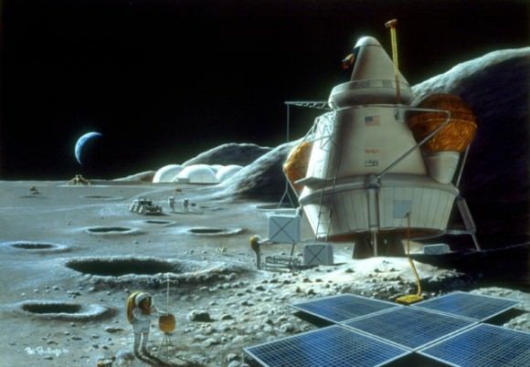 Artist concept of a Moon base. Credit: NASA/Pat Rawlings.