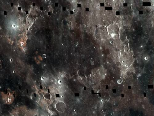 LROC WAC mosaic showing boundary between Mare Serenitatis and Mare Tranquillitatis. The relative blue colour of the Tranquillitatis mare is due to higher abundances of the titanium bearing mineral ilmenite. Image Credit: NASA/GSFC/Arizona State University