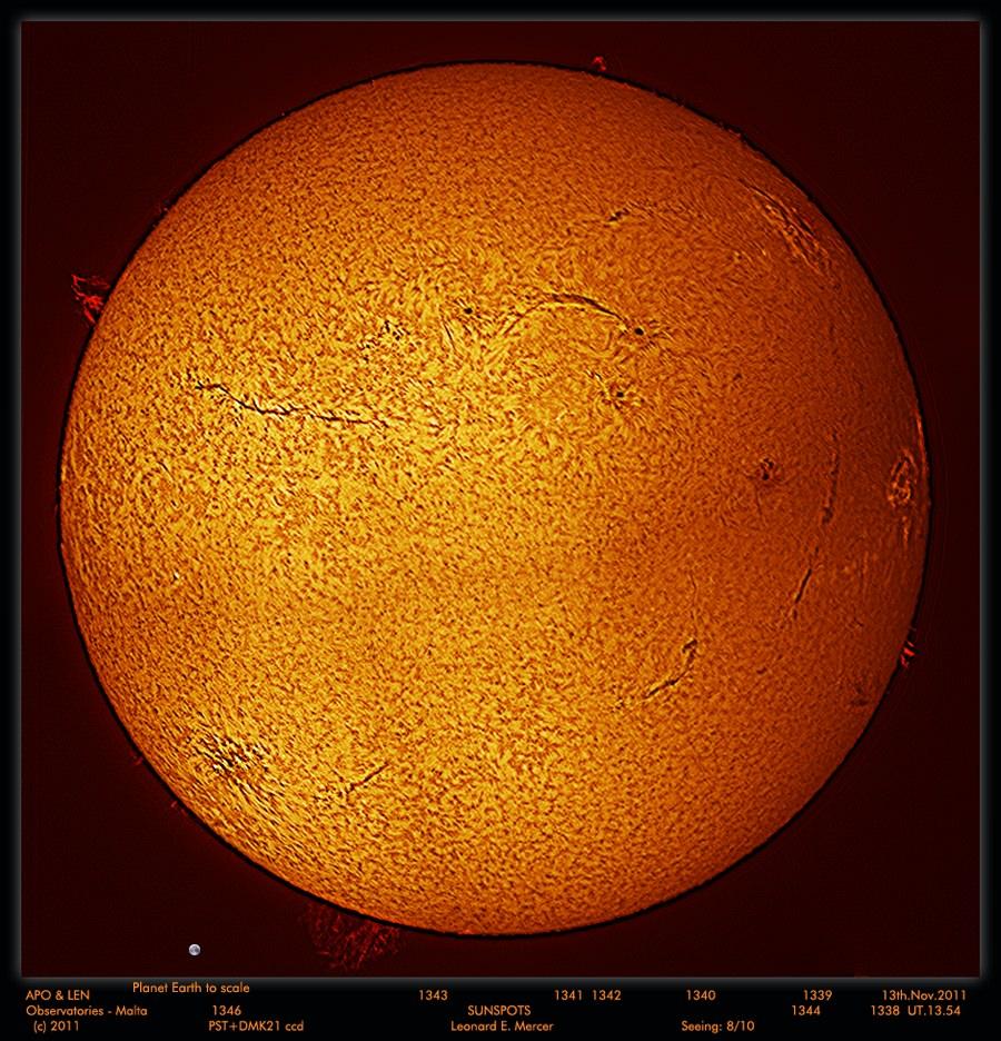 A mosaic of 4 images taken of the Sun on Nov. 13, 2011. Credit: Leonard Mercer.