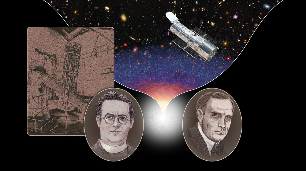 "This illustration shows American astronomer Edwin Hubble (1889-1953) on the right and Belgian priest and cosmologist Georges Lemaître (1894-1966) on the left. Based on new evidence, both scientists should share credit for independently uncovering evidence for the expanding universe in the late 1920s. Lemaître is also credited with proposing a theory for the origin of the universe that would later be called the ""big bang."" The telescope on the left is the 100-inch Hooker Telescope on Mt. Wilson in California. The Hubble Space Telescope is on the right.  Credit: NASA, ESA, and A. Feild (STScI)"