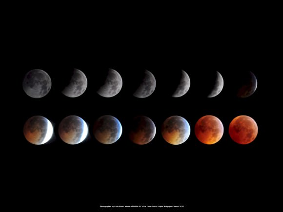 The phases of a lunar eclipse. Photo credit: Keith Burns for NASA/JPL