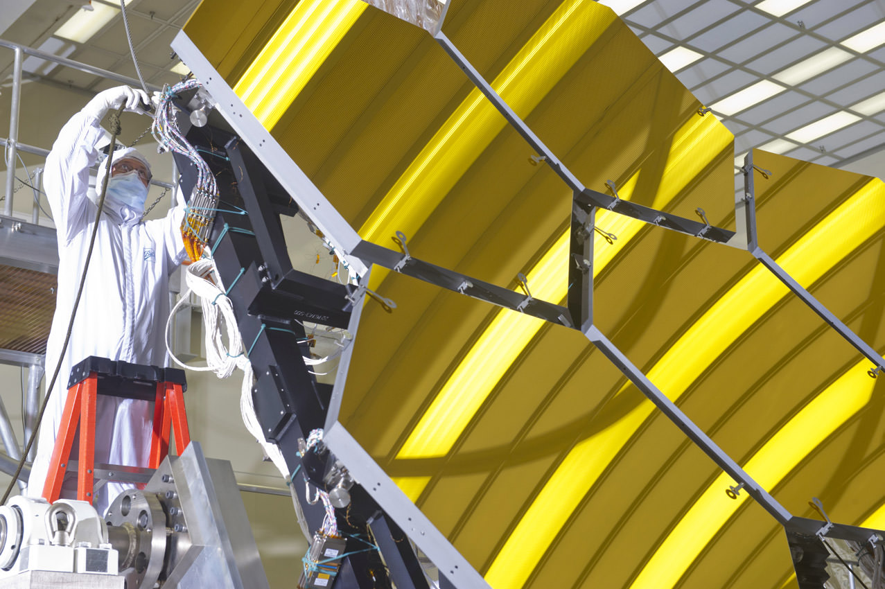 The James Webb Space Telescope mirrors have completed deep-freeze tests and are removed from the X-ray and Cryogenic test Facility at Marshall Space Flight Center. Credit: Emmett Given, NASA Marshall