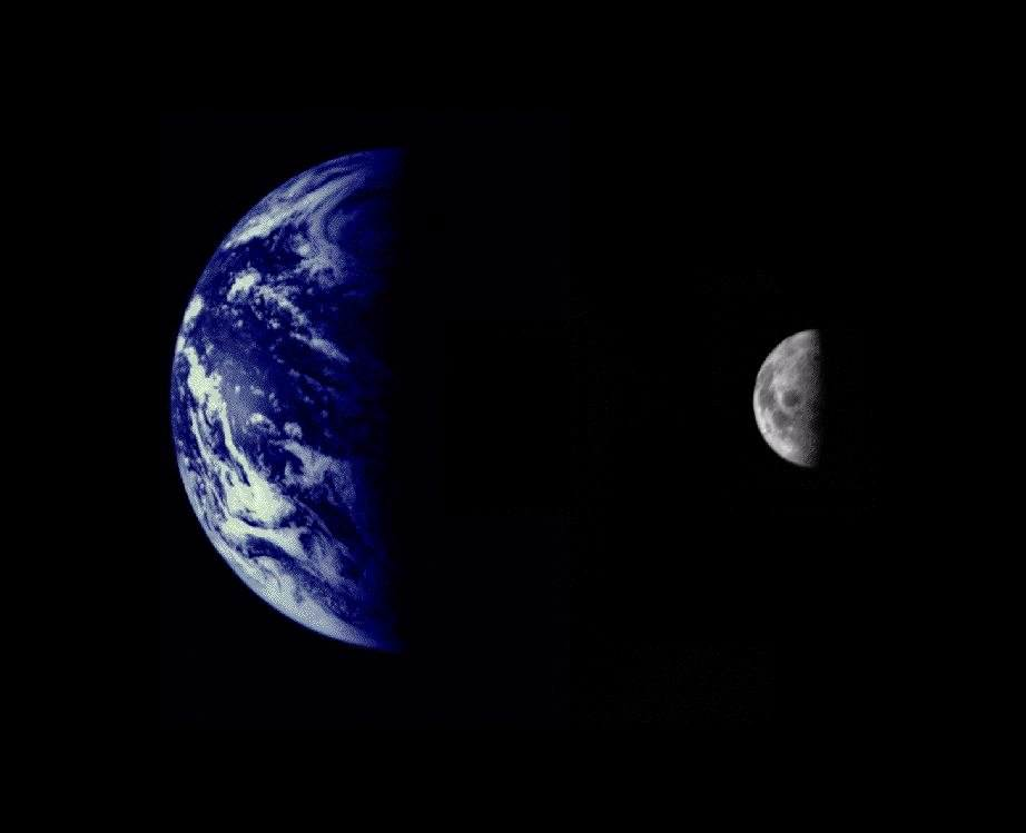 The Earth and Moon as seen from Mariner 10 en route to Venus. This could be a similar view of two moons as seen from Earth. Image credit: NASA/courtesy of nasaimages.org
