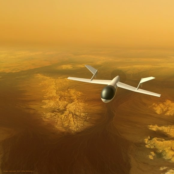 An artist's conception of AVIATR, an airplane mission to Saturn's largest moon Titan. Credit: Mike Malaska 2011