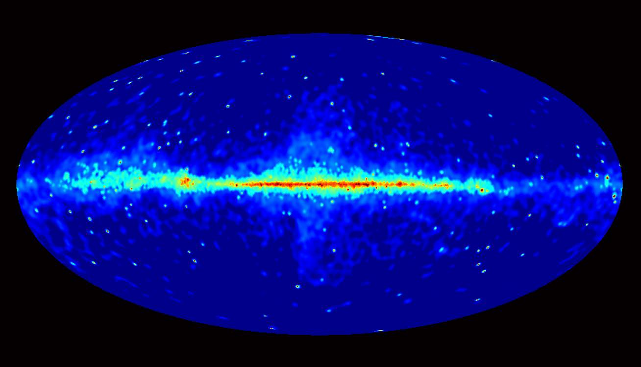 This all-sky Fermi view includes only sources with energies greater than 10 GeV. From some of these sources, Fermi's LAT detects only one gamma-ray photon every four months. Brighter colors indicate brighter gamma-ray sources.   Credit: NASA/DOE/Fermi LAT Collaboration