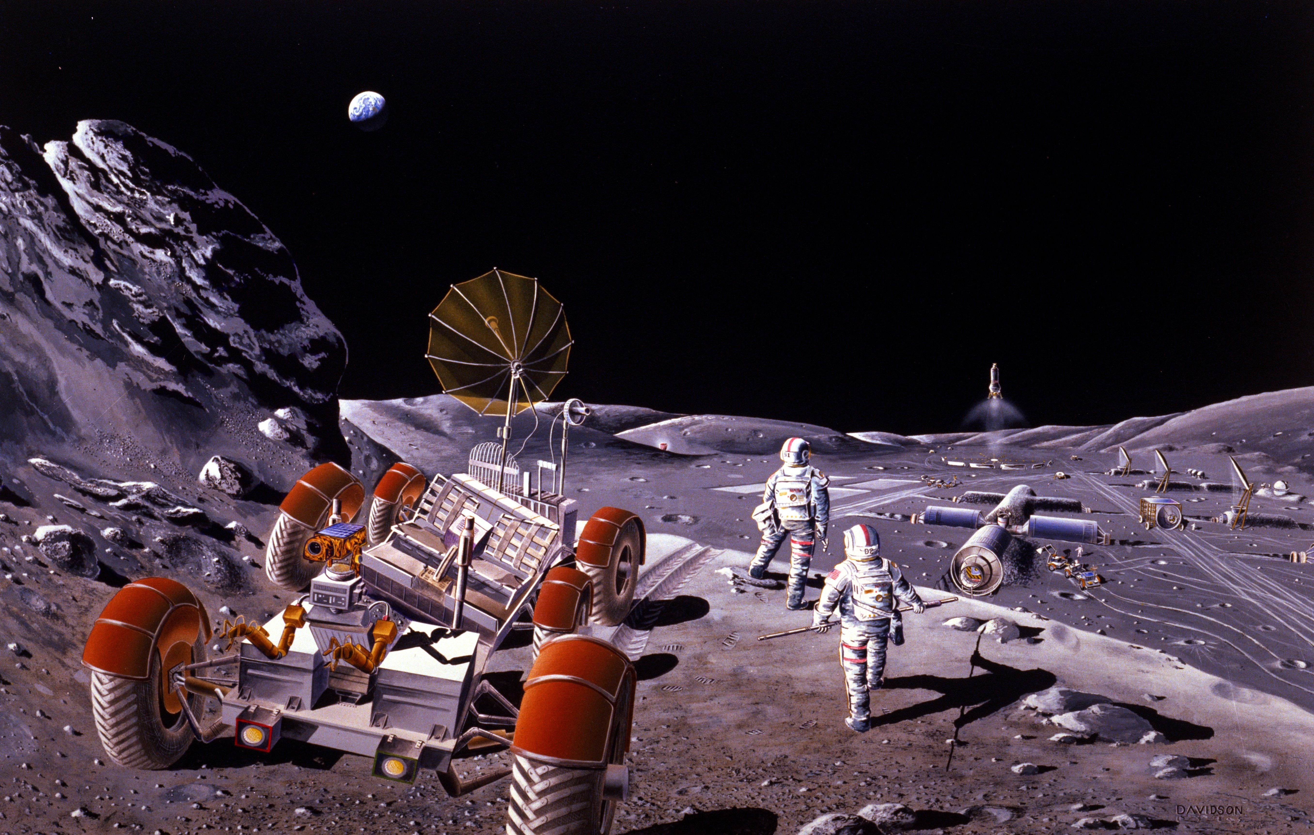 Artist concept of a base on the Moon. Credit: NASA, via Wikipedia