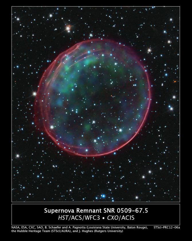 Supernova remnant SNR 0509-67.5. Supernovae provided the heavier elements in the Sun. Image credit: NASA/ESA/CXC