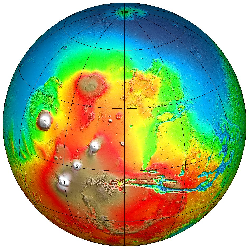 Topographic map from Mars Global Surveyor showing colour-coded altitudes; the blue areas are the lowest and correspond to the possible ancient ocean in the northern hemisphere. Credit: NASA/JPL